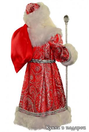 Дед Мороз в красной шубе с мешком подарков