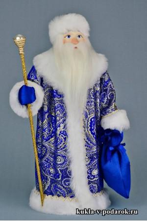 Фото Дед Мороз с посохом в синей шубе московский сувенир