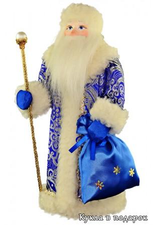 Красивый новогодний подарок кукла Дед Мороз с посохом