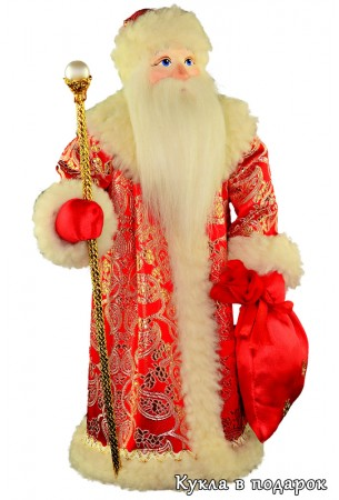 Кукла Дед Мороз с посохом в красной шубе