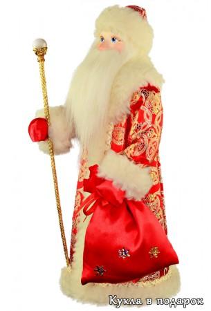 Сувенир из Москвы кукла Дед Мороз с посохом