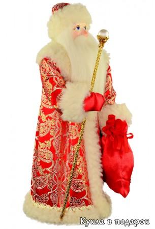Кукла Дед Мороз с посохом и мешком подарков