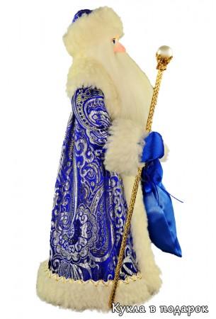 Кукла в синей шубе русский Дед Мороз