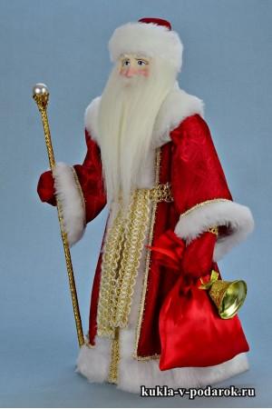 Фото Дед Мороз красный нос с мешком подарков и посохом