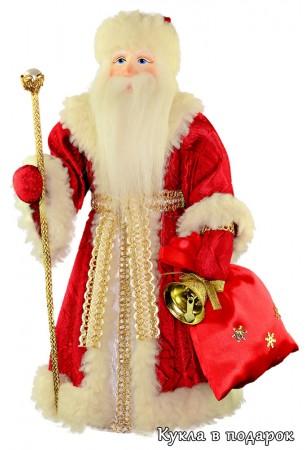 Дед Мороз красный нос с мешком подарков и посохом