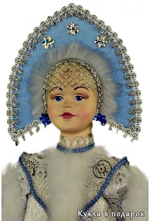 красивая кукла Снегурочка с фарфоровыми руками