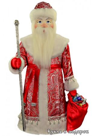 Большой Дед Мороз кукла в красной с серебром одежде