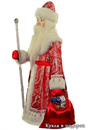 Большой Дед Мороз с бородой, мешком и посохом