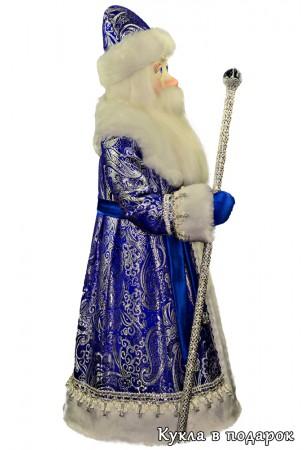 Большой красивый синий Дед Мороз с жезлом