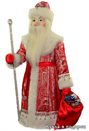 Мешок с подарками в руках у большого Деда Мороза