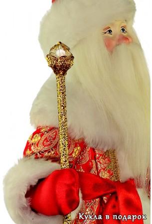 Кукла Дед Мороз с золотым посохом