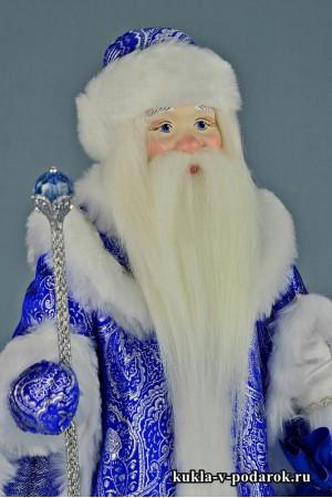 Фото Дедушка Мороз кукла в синей одежде шубе