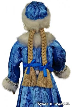 Новогодняя Снегурочка кукла с двумя косичками