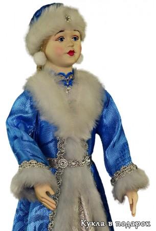 Снегурочка новогодняя кукла в меховой шапочке
