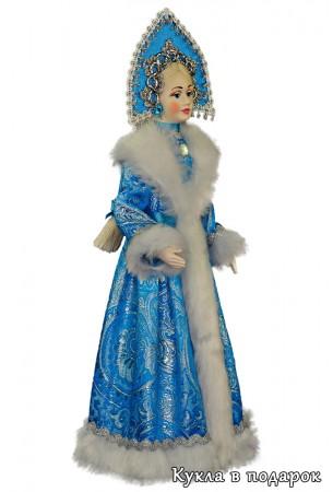 Снегурочка голубая игрушка с русской косой