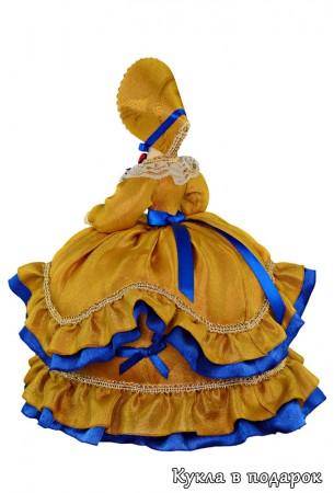 Кукла в капоре с мантоньерками и платье 19 века