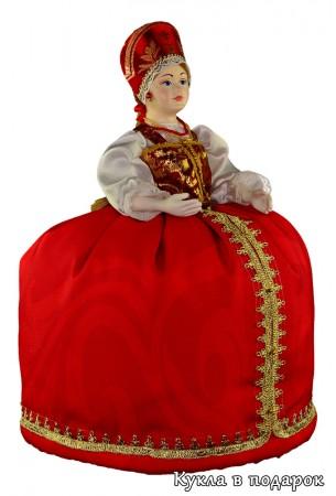 Красная кукла грелка на чайник заварник