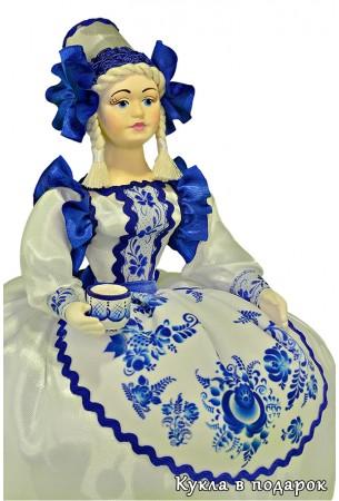 Фарфоровая кукла в стиле Гжель