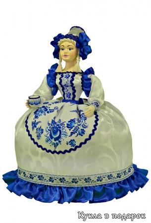 Стиль Гжель синяя с белым кукла