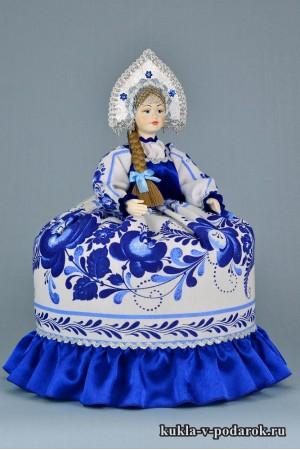 Фото Гжель сувенир на чайник кукла в подарок