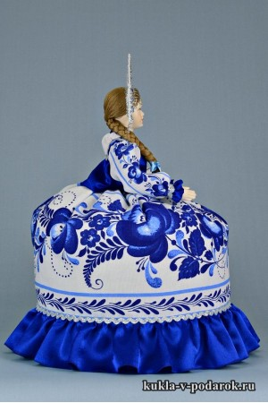 Фото Гжель сувенир на чайник кукла грелка