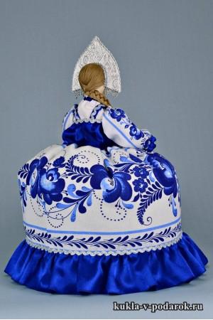 Фото Гжель сувенир на чайник кукла в кокошнике
