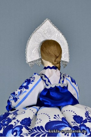 Фото Гжель сувенир на чайник русская кукла