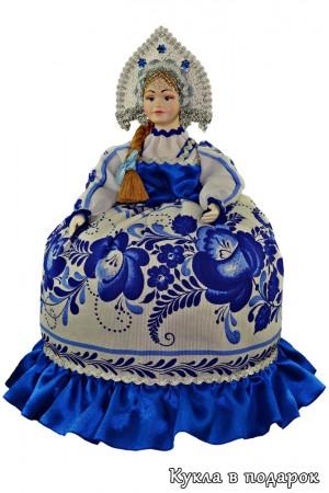 Гжель сувенир на чайник красивая кукла