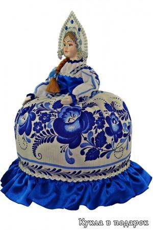 Гжель сувенир на чайник русская кукла