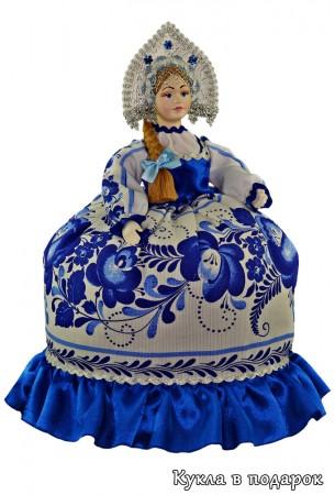 Гжель сувенир на чайник кукла в подарок