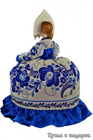 Гжель сувенир на чайник кукла в кокошнике