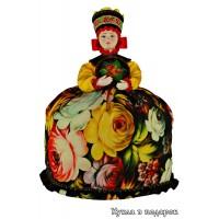 Роспись Жостово металлических подносов и кукла чайница