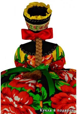 Подарок бабушке кукла с косой и красным бантом