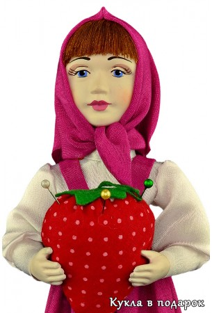 Кукла Маша игольница с фарфоровой головой