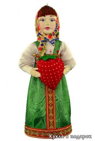 Кукла в зеленом платье игольница Маша