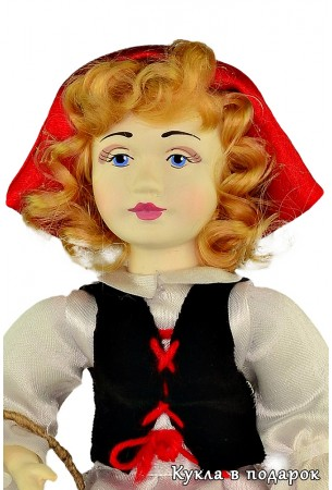 Красивая куколка с милым лицом игольница Красная Шапочка