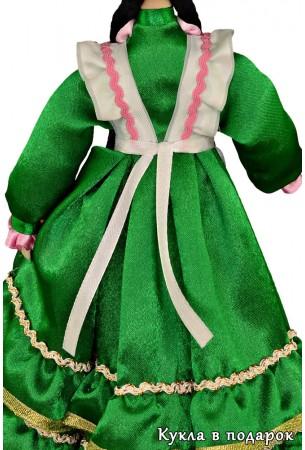 Платье зеленого цвета на кукле татарская женщина