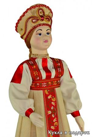 Сувенирная московская кукла фарфоровая голова и руки