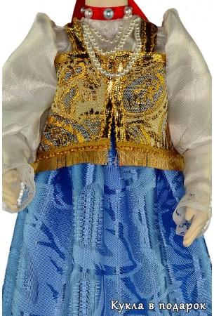 Одежда куклы с золотым шитьём и речным жемчугом