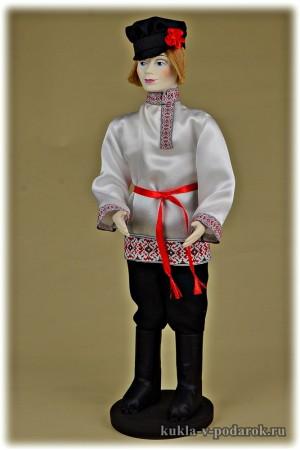 Фото русский парень в картузе с цветком кукла