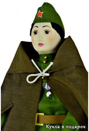Кукла в подарок солдат в пилотке
