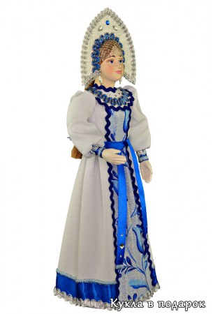 Интерьерная кукла в русском бело-синем наряде