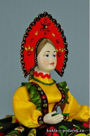 Кукла Хохлома в русском кокошнике