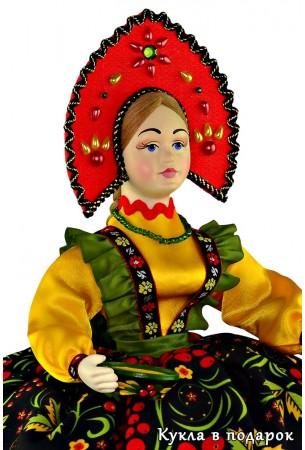 Недорогой подарок кукла на чайник Хохлома