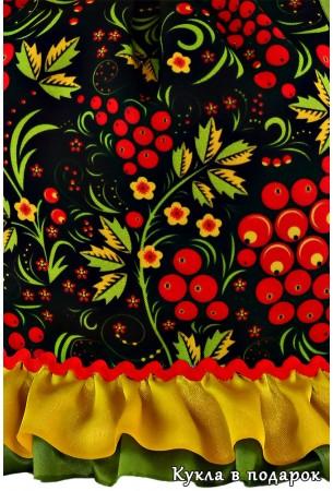 Рябиновые узоры платья куклы Хохлома