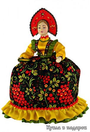 Кукла в цветах росписи Хохлома - черный и золотой