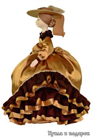 Бежевая кукла грелка на заварной чайник