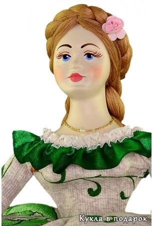Кукла с головой из фарфора с зонтиком