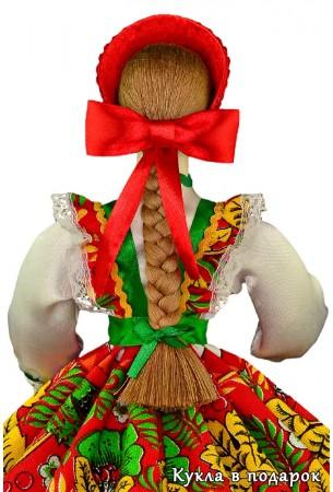Шкатулка русская кукла с косой и бантом