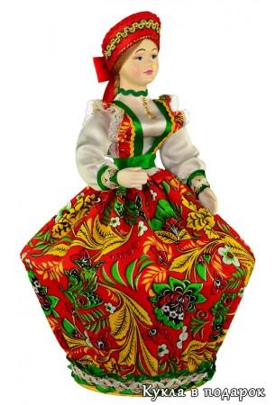 Шкатулка в виде куклы в русском народном костюме